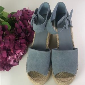 Marc Fisher LTD Suede Jute Wedge Sandals Blue 9.5